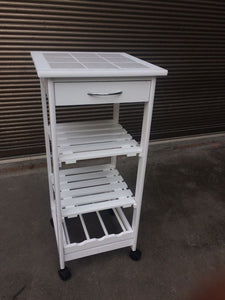 White Kitchen Trolley Table With Wheels Drawer Wooden Shelves And Wine Rack