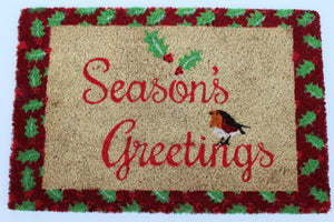 UK-Gardens SEASONS GREETINGS 40x60cm Red and Yellow Christmas Outdoor Door Mat
