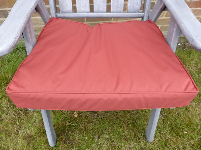 Garden Furniture Cushions - Terracotta Deep Square Seat Pad Armchair Cushion 48x52x7