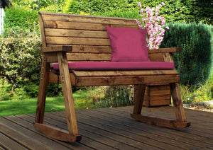 UK-Gardens Outdoor Bench Wood Rocker Two Seater with Burgundy Cushions