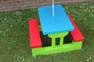 Children Resin Plastic Garden Bench Table and Parasol Set