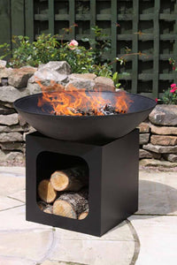 UK Gardens 56cm Black Large Cast Iron Fire Bowl with Log Storage