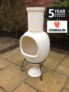 UK Gardens 129cm Extra Large Chimenea with Lid and Stand in Natural Clay