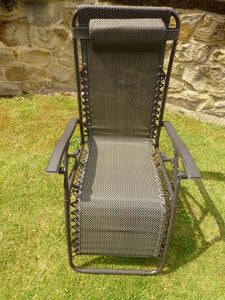 Brown Garden Sun Lounger Relaxer Recliner Garden Chair