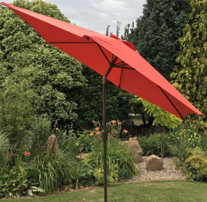Large 2m Terracotta Crank And Tilt Garden Parasol Umbrella 200cm  Metal Pole