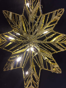 Light Up 47cm Gold Star With 10 LED Lights Christmas Decoration