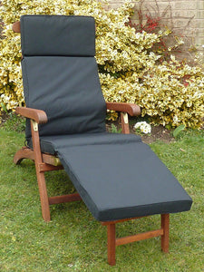 Garden Furniture Cushion - Black Cushion For Garden Steamer Chair 184x48x6