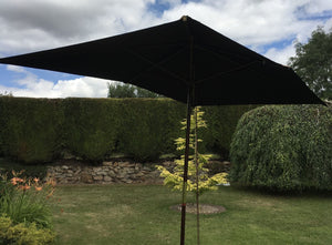 Large Hardwood 2m x 3m Black Wooden Pulley Garden Parasol Umbrella