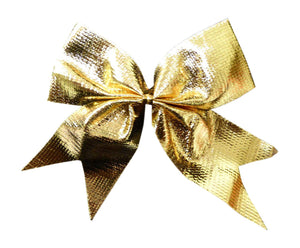 Pack of 8 Gold Bows for Garlands, Wreaths, Present Decorations, Table Decorations or Cakes.