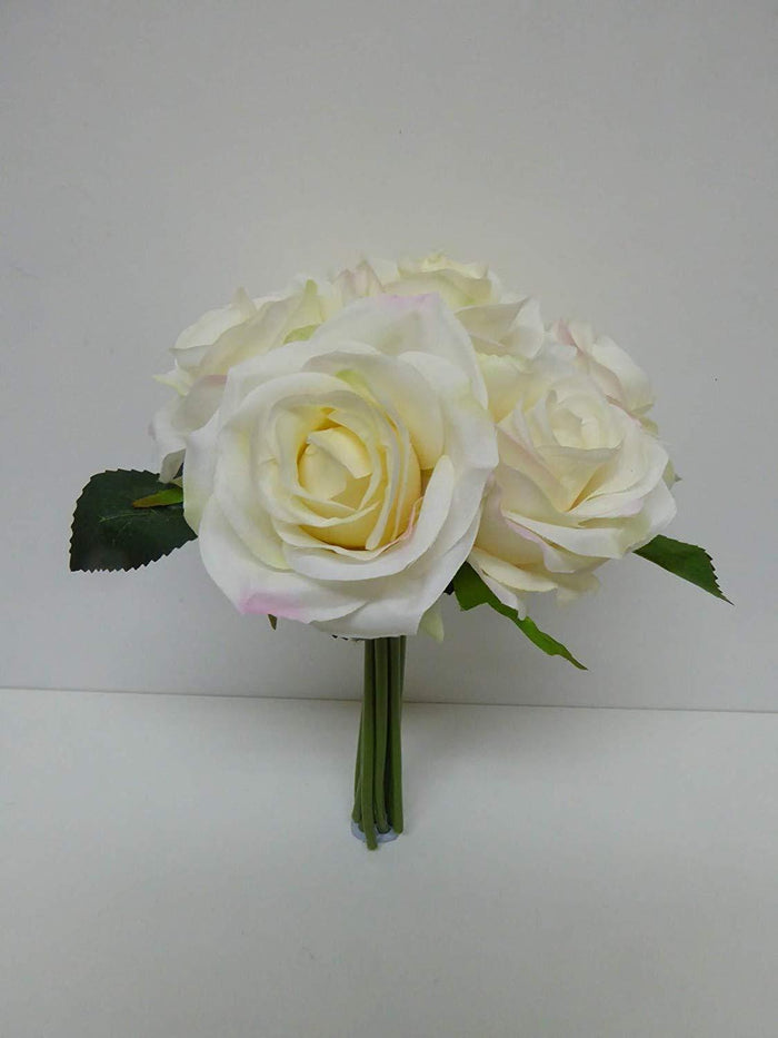 Artificial Flowers - Artificial 30cm Rose Bouquet Spray Arrangement - House Office or Indoor Decoration (WHITE)