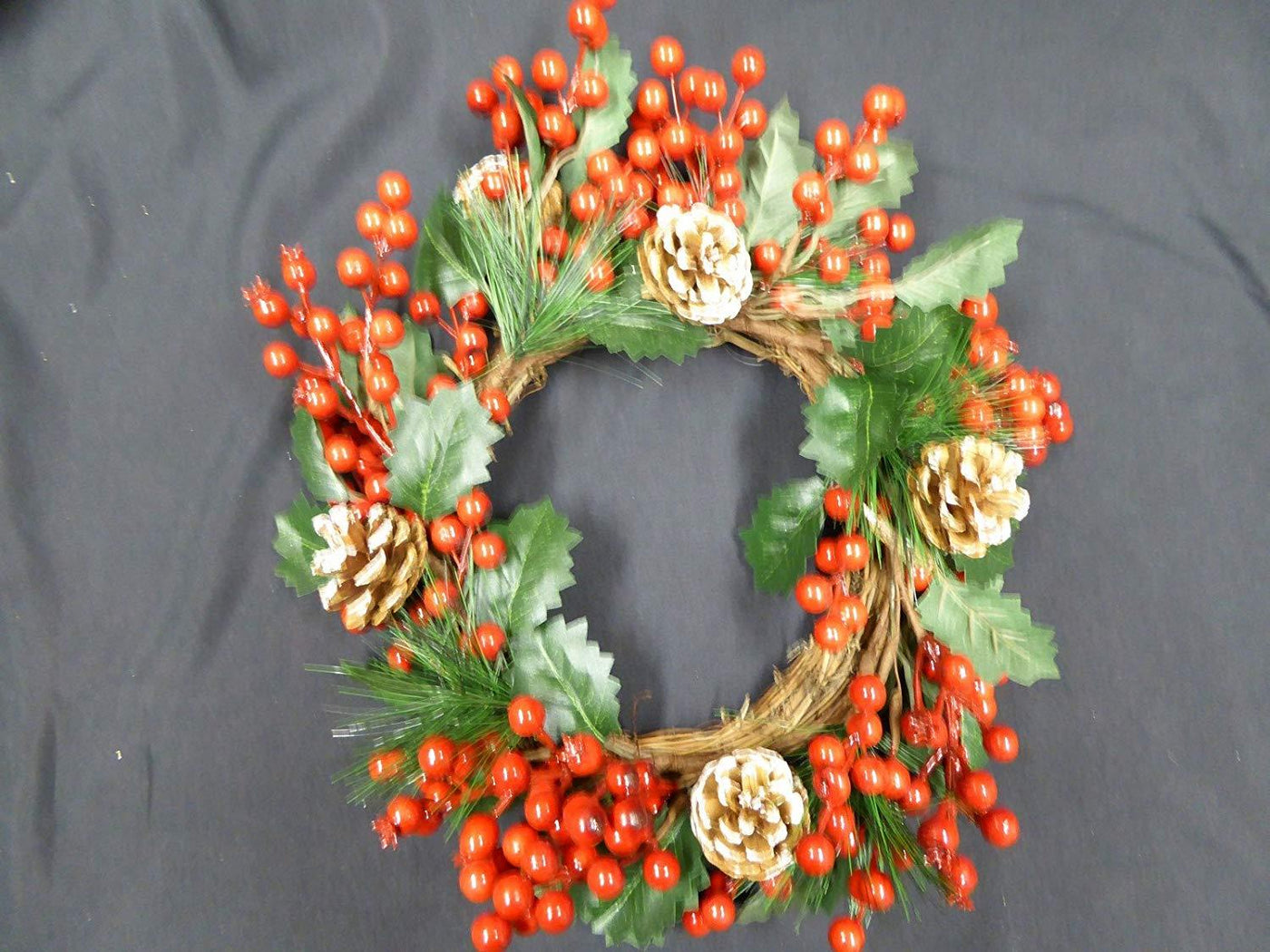 Green Holly Spray with Berries 30cm Great for Floral Arrange,ents x 4