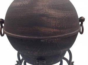 UK-Gardens 143cm Jumbo Swivel Cast Iron Bronze Chimenea BBQ Grill