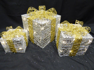 Large Glitter Silver And Gold Light Up Christmas Parcels Set With LED Lights Indoor Outdoor Decorations - Battery Operated