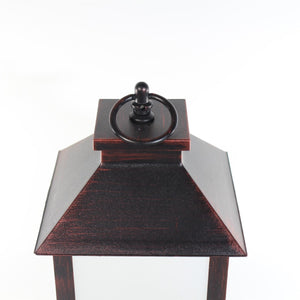 UK-Gardens 28cm Copper Plain Lantern with Flickering Candle Flame BO