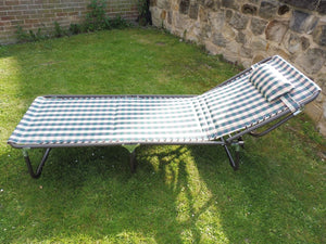 SET OF 2 Green Check Padded Folding Garden Sun Loungers Sun Bed Reclining Chair