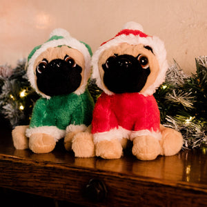 UK Gardens 20cm Green Hanging Plush Pugs Soft Toy Home Decoration