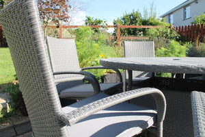 4 Seater Grey Rattan Round Garden Dining Set