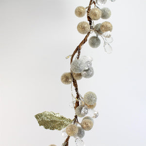 UK-Gardens 1.8m Gold BO Christmas Garland Decoration with Crystals and 35 WW LED