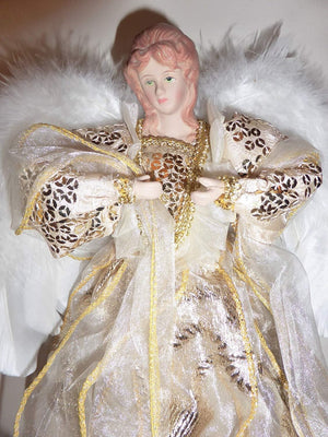 30cm Large Gold Fairy Angel Christmas Tree Topper Decoration For Artificial or Real Christmas Trees