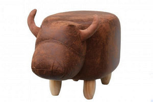 UK Gardens 60cm Soft Brown Cow Leatherette Footstool Furniture