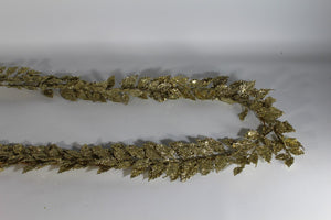 Champagne Gold 1.8m Glitter Leaf Christmas Artificial Garland Decoration