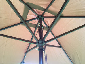 Large Hardwood 2m x 3m Brown Wooden Pulley Garden Parasol Umbrella