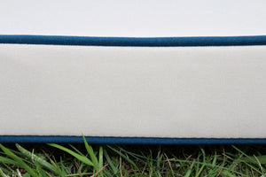 DefaultCream Square Seat Pad Garden Chair Cushion Navy Piping 40 x 38 x 5cm