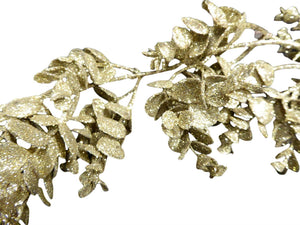 160cm 5ft Artificial Gold Glitter Eucalyptus Garland - Christmas Home Indoor Decoration