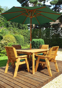 UK-Gardens Four Seater Square Garden Table Set with Green Parasol