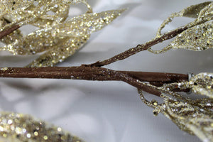 6ft 1.8m Glitter CHAMPAGNE GOLD Leaves Garland