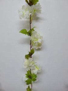 Decorations - Artificial Plant -2m 6' Long Blossom Garland With Foliage - Decorative Artificial Flowers - 3 Colours (White)
