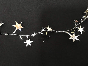 750cm SILVER Wire Christmas Garland with Stars - Christmas Tree Decoration