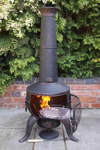 UK-Gardens 137cm Outdoor Large Cast Iron Bronze Chimenea with Swivel BBQ Grill