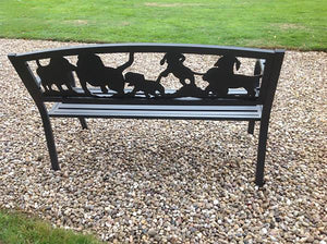 UK Gardens 127cm Black Steel Framed Cast Iron Outdoor Bench with Puppies