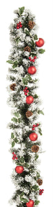 UK Gardens 270cm Bo Lit Frosted Holly Christmas Garland Decor Wreath 100 Lights