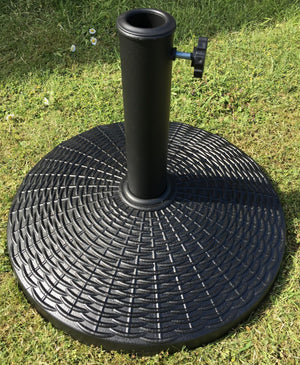 12kg Round Garden Parasol Base Umbrella Stand Black Brown Green Rattan For 3m Parasols