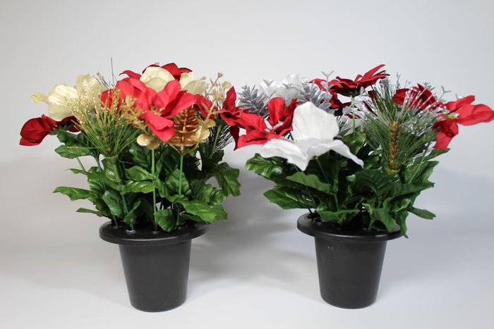 Christmas Poinsettia Holly Artificial Silk Flower Grave Pot Plant 2 Colours