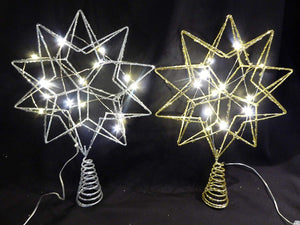 35cm GOLD Battery Glitter Star With LED Lights