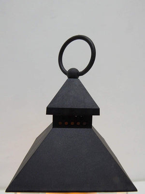 Flickering Lantern - 24cm Battery Operated Black Lantern With Flickering Flame Candle