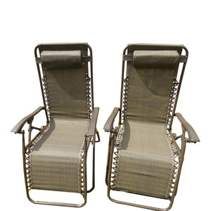 SET OF 2 Brown Garden Sun Lounger Relaxer Recliner Garden Chairs