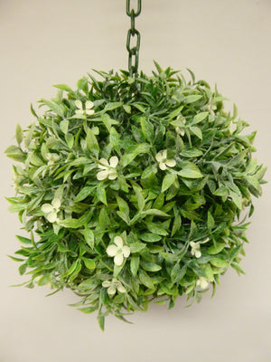 20cm Green with White Flowers Hanging Topiary Ball