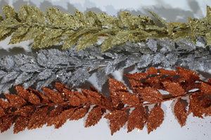 Silver 1.8m Glitter Leaf Christmas Artificial Garland Decoration