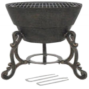 UK Gardens 42cm Cast Iron Fire Pit in Bronze with Chromed Steel BBQ Grill