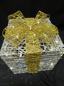 Large Glitter Silver And Gold Light Up Christmas Parcels Set With LED Lights