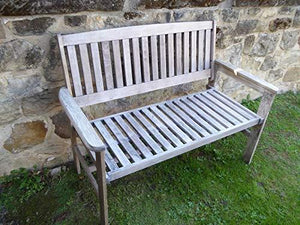 UK-Gardens Heavy Duty Antique Grey Wooden 2 Seater Garden Bench Quality Hardwood