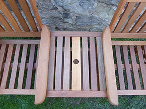 UK-Gardens Heavy Duty Brown Wooden Garden Love Seat Bench With Parasol Hole and Table (Love Seat NO Cushions)
