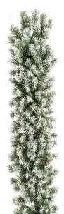 UK Gardens 270cm Bo Frosted Christmas Garland Decoration Wreath Cones 100 Lights