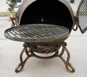 UK-Gardens 26cm Round BBQ Swivel Grill with Edge Cast Iron