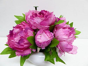 Large Artificial Pink Potted Peonies - 26cm Tall With Silk Flowers In a Ceramic Round White Planter Pot