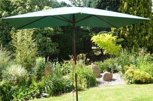 Large Hardwood 2m x 3m Green Wooden Pulley Garden Parasol Umbrella